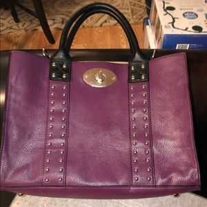 🎀 Women's purple black leather purse / bag.
